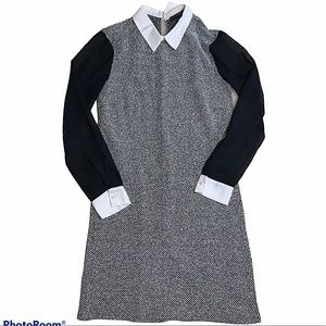Atmosphere collared knit dress was sheer arms